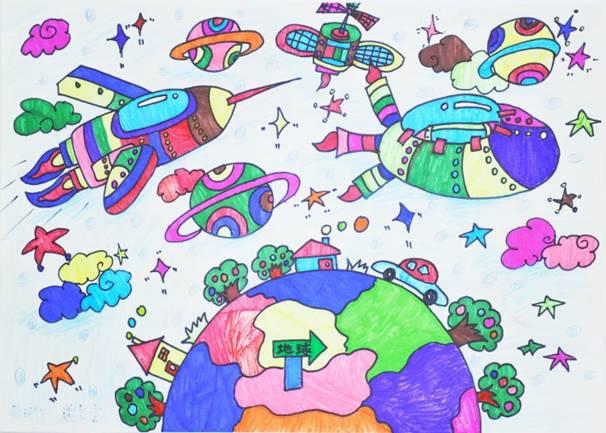 >> 文章内容 >> 太空绘画作品  下面是《我的未来太空》绘画.图片